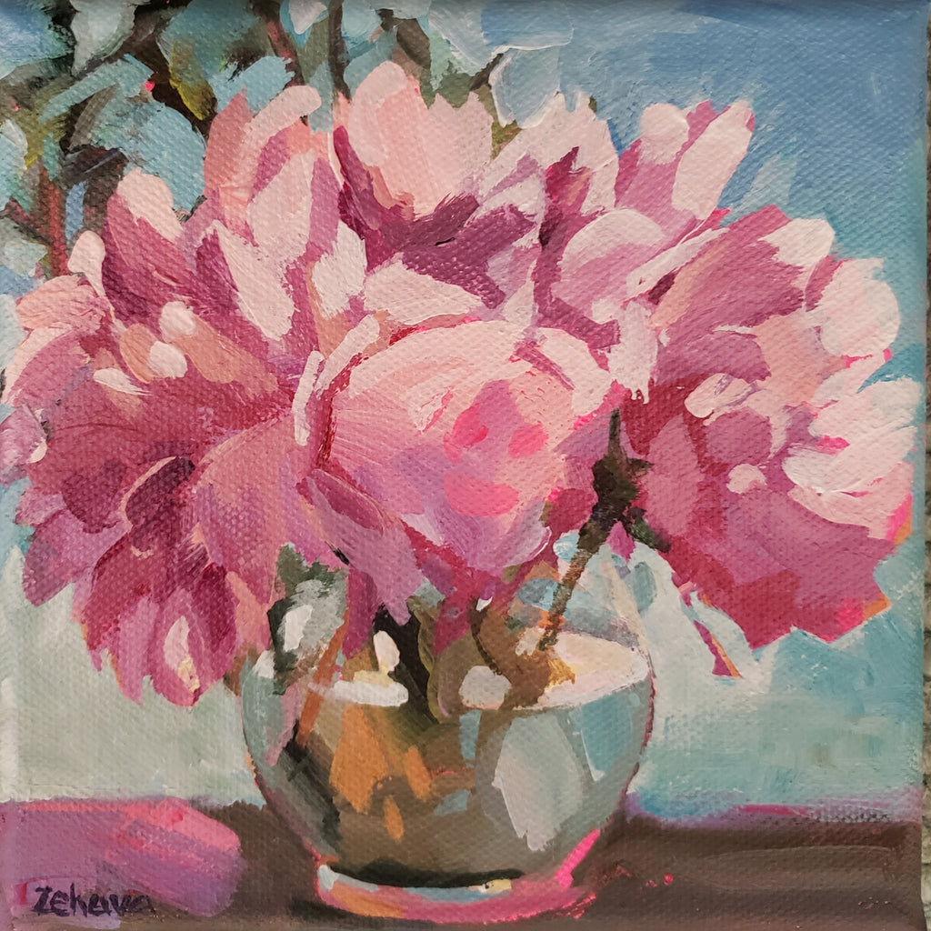pink peonies in a round vase by artist Zehava Power