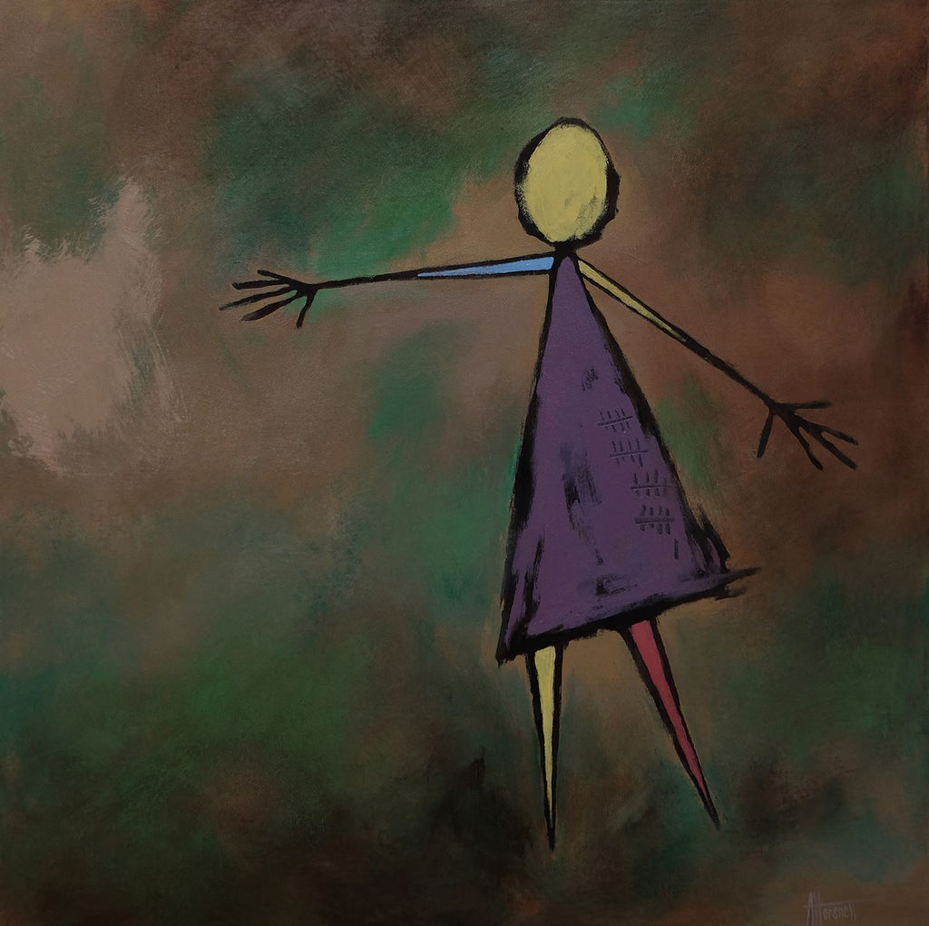 A lone simplified human figure in a purple dress, with twenty-one tick marks on it, floats in a layered green and brown background. The figures head and right arm is yellow, the left arm is blue and reaches out towards the left edge of the canvas. Partial abstract by Nova Scotian artist Anna Horsnell, a part of her 2020 Earthlings series.