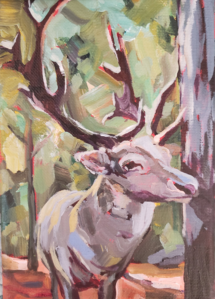 painting of a large male deer looking at the viewer through the trees by artist Zehava Power