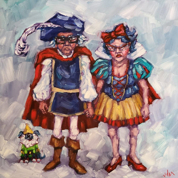 oil painting of an older couple dressed as prince charming and snow white with their little white dog dresses as a jester
