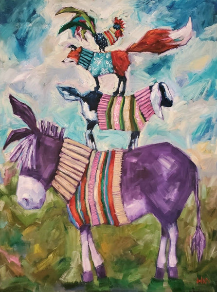 a stack of animals wearingcolourful sweaters; a rooster on a fox on a goat on a donkey