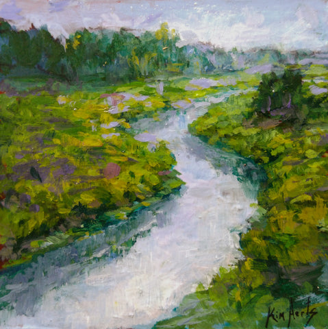 mini oil painting of a winding river by Kim Aerts