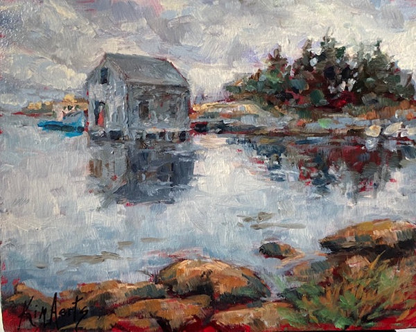 fishing shack and boat in cove oil painting by Nova Scotia artist Kim Aerts
