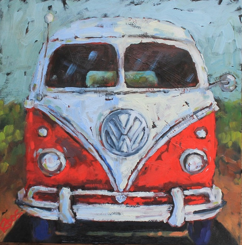 front view red and white volkswagen van by artist Lisa-Maj Roos