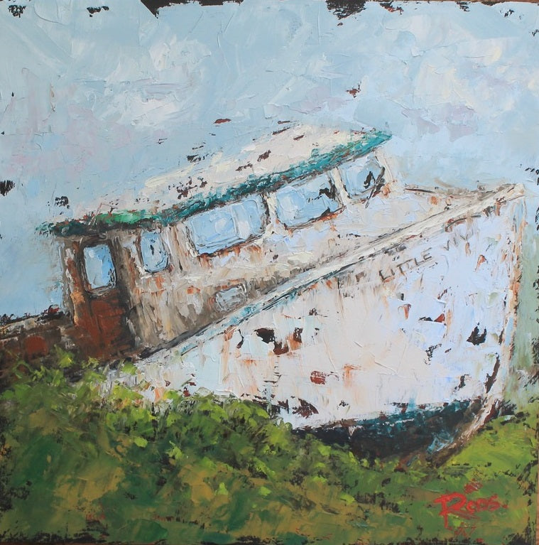 white fishing boat grounded in a green field by artist Lisa-Maj Roos
