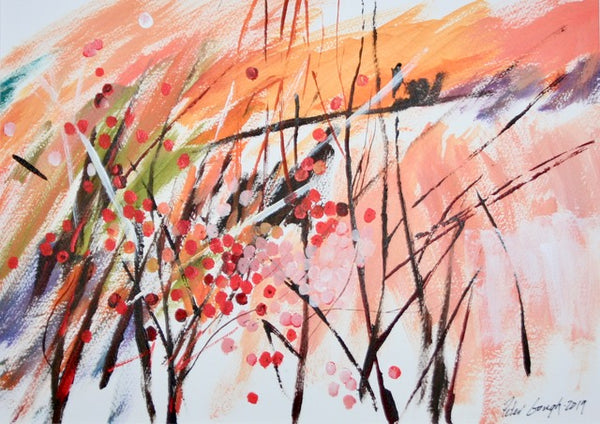 thinned acrylic painting by Peter Gough.  Abstracted quickly painted sticks red berries, orange sky and snowy field.