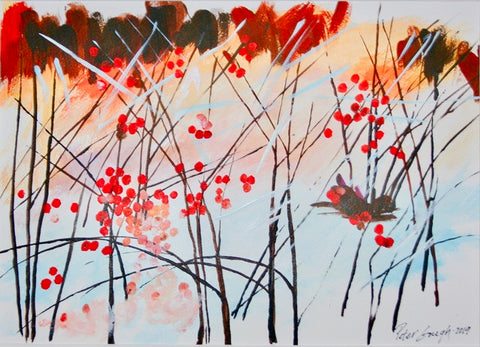 thinned acrylic painting on paper of abstracted reeds with red berry, against a light pink and white background by Peter Gough