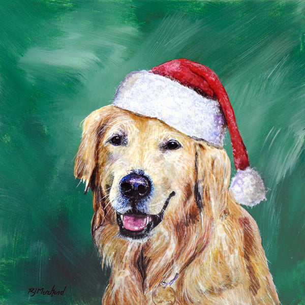 Golden retriever with santa hat on by rj marchand