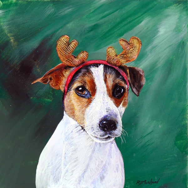 jack russell terrier with antlers on by artist rj marchand