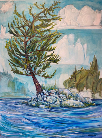 Oil and Conte painting of a lone pine tree on the edge of a  rocky outcrop of island in a choppy blue lake, by Nova Scotia artist Sarah Irwin.