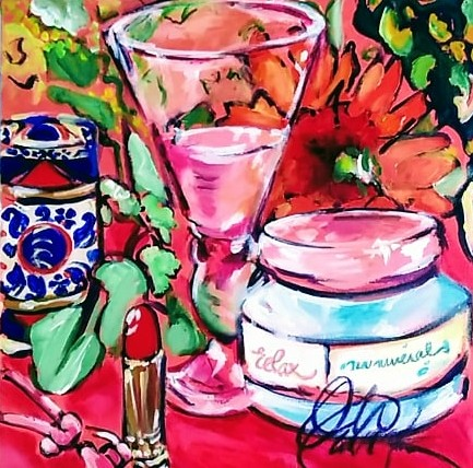 square pink painting of a dressing table depicting face cream, red lipstick, wine goblet and flowers