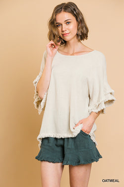 Sunny Ruffle Top - Oatmeal - Tucker Brown
