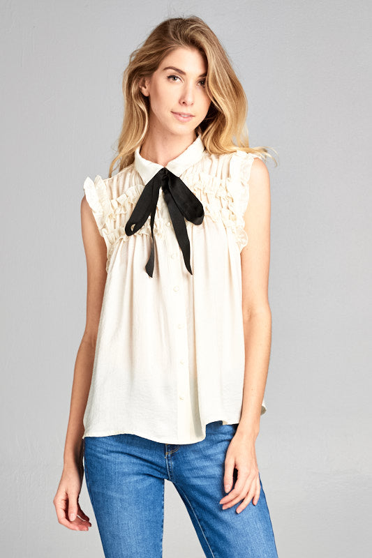 Bennet Pearl Blouse - Beige - Tucker Brown