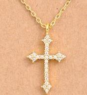 Dainty Filigree Cross Necklace - Tucker Brown