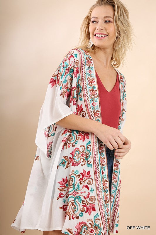 Maria Embroidered Kimono - Tucker Brown