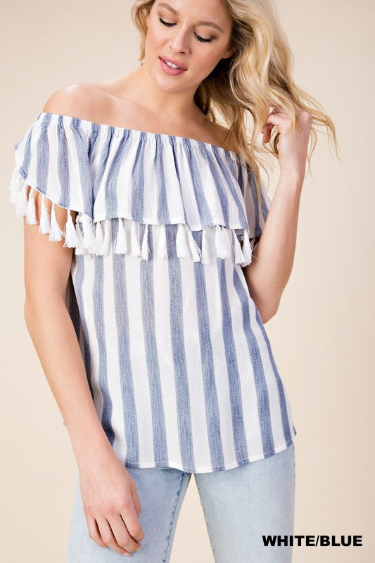 Tassels And Stripes Top - Blue - Tucker Brown