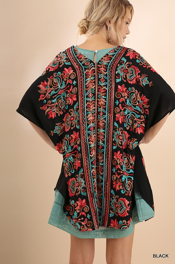 Maria Embroidered Kimono - Black - Tucker Brown