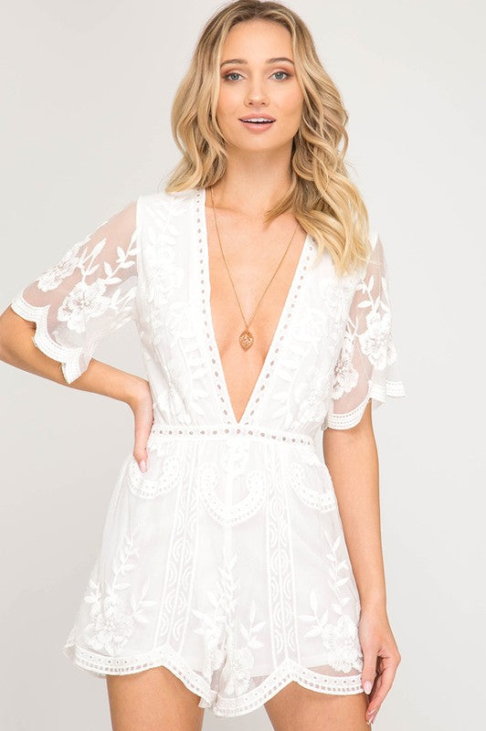 Ladylike Lace Romper - Tucker Brown