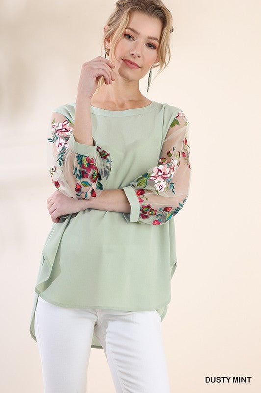 Jessie Faye Embroidered Top - Sage - Tucker Brown