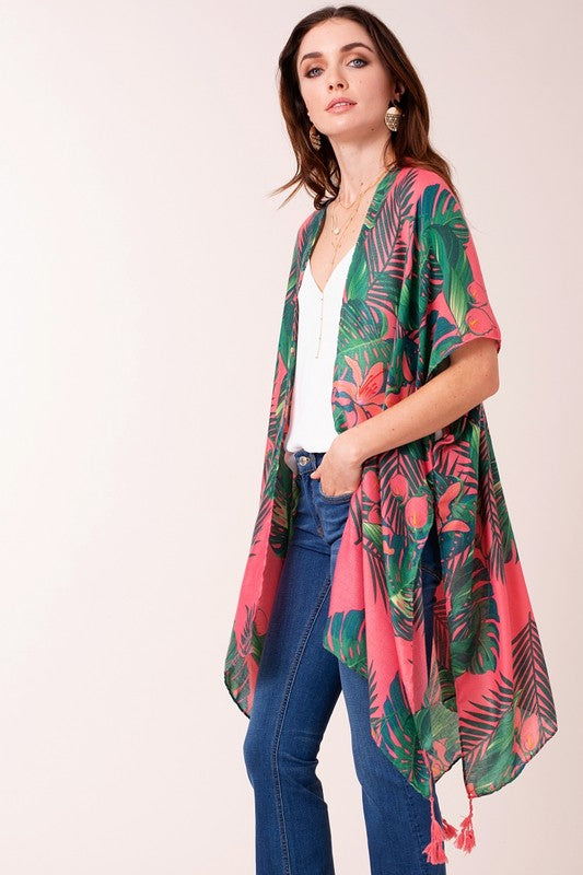 Hibiscus Lily Kimono - Pink/Green - Tucker Brown
