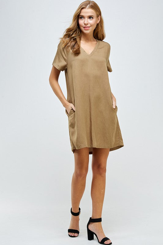 Until Tomorrow Shift Dress - Khaki - Tucker Brown
