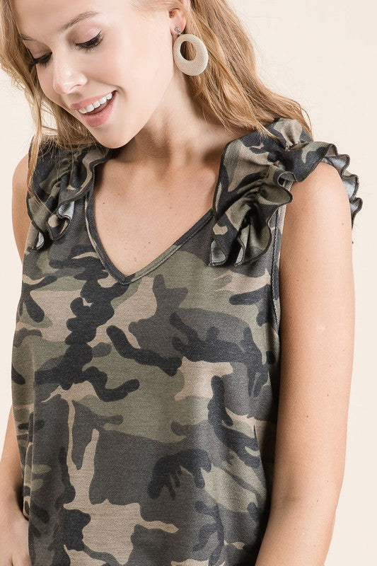Commodor Camo Ruffle Tank - Olive - Tucker Brown