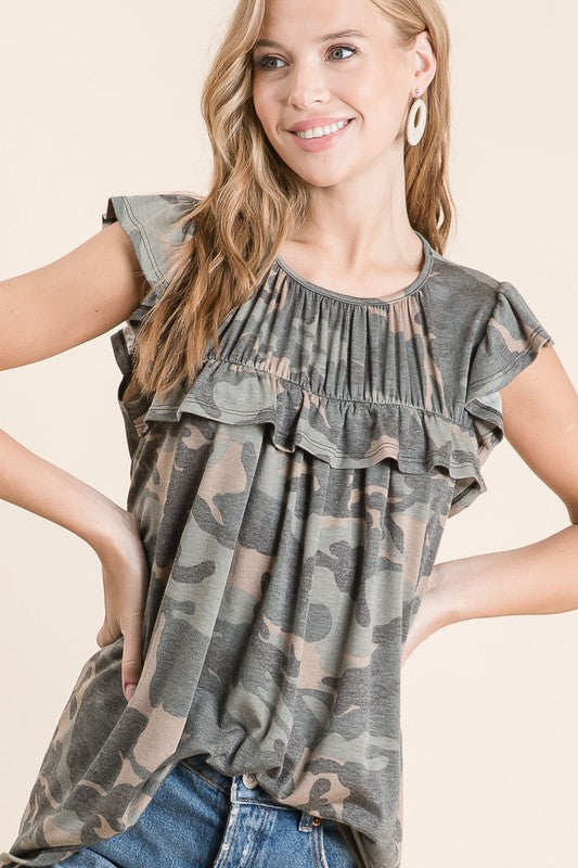 Cadence Camo Top - Olive - Tucker Brown