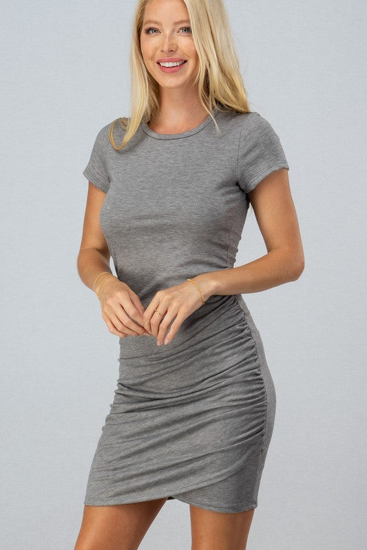 Love Vintage Ruched Dress - Heather Grey - Tucker Brown
