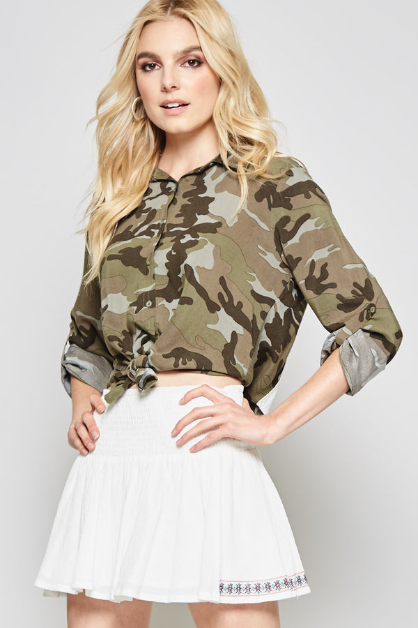 Camo Cactus Button Up Blouse - Tucker Brown