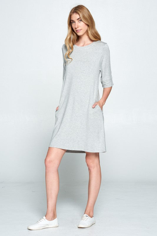 Keeper Tee Dress - Heather Grey - Tucker Brown