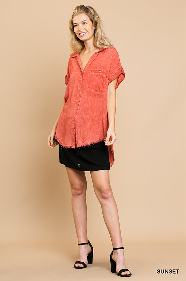 Blakley Button Up Top - Sunset - Tucker Brown