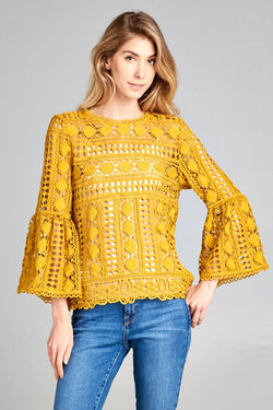 Duchess Crochet Top - Mustard - Tucker Brown