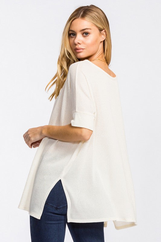 Shiloh Knit Top - Ivory - Tucker Brown