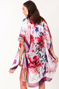 Water Paint Floral Kimono -- Pink - Tucker Brown