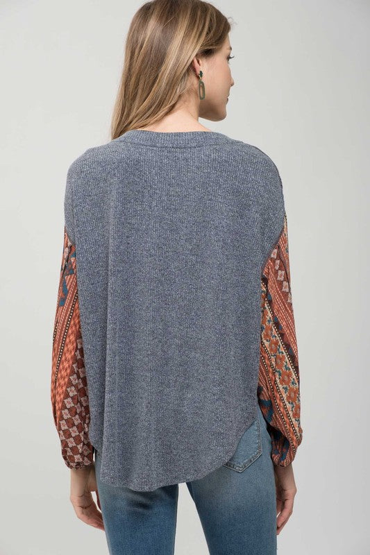Patchwork Gypsy Sleeve Top - Charcoal/Rust - Tucker Brown