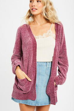 Fable Chenille Cardigan - Mauve - Tucker Brown