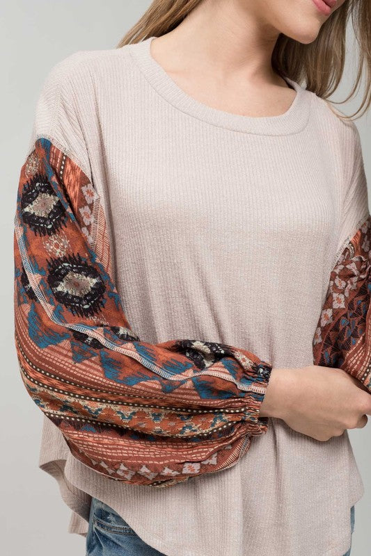 Patchwork Gypsy Sleeve Top - Oatmeal/Rust - Tucker Brown