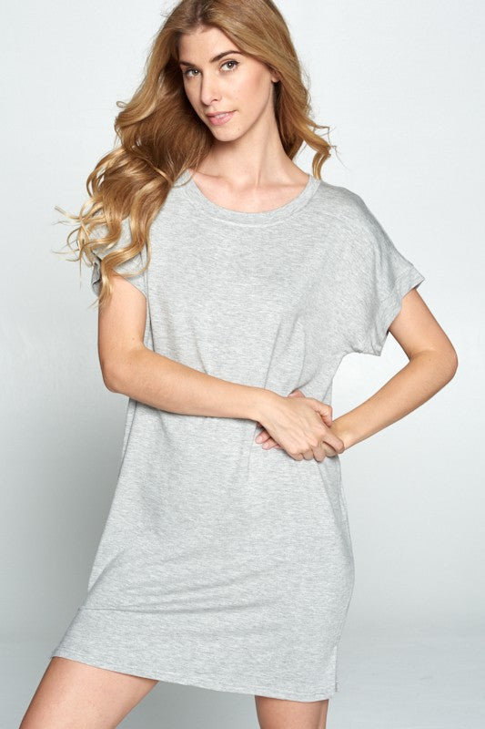 Good To Go Tee Dress - Heather Grey - Tucker Brown