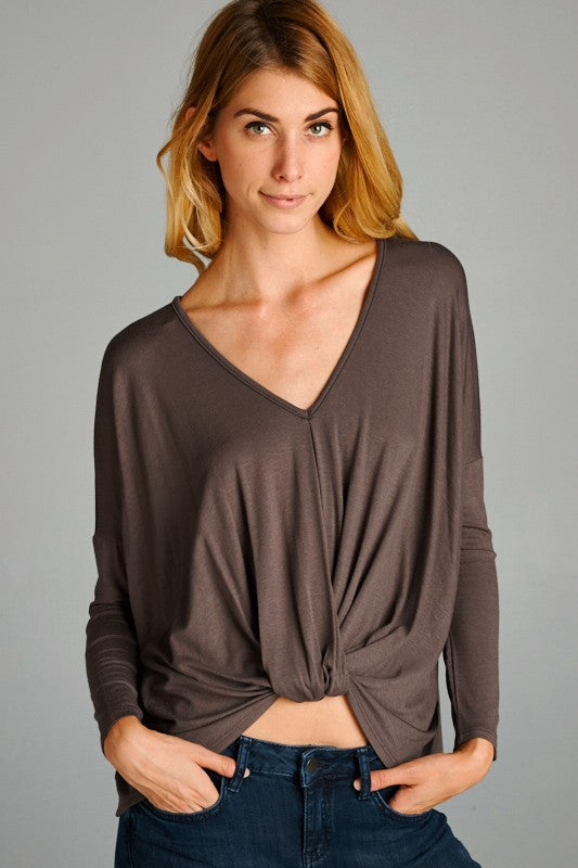 V Neck Twisted Knot Top - Taupe - Tucker Brown