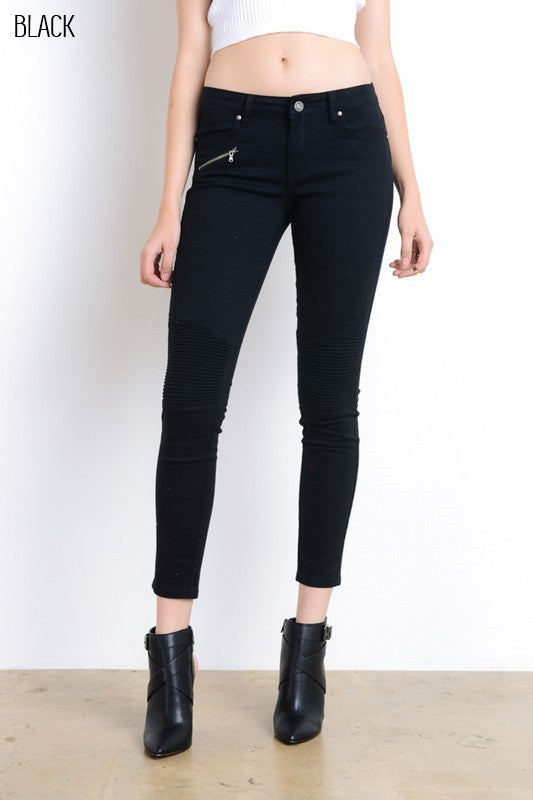 Skinny Zipped Motto Jeans - Tucker Brown