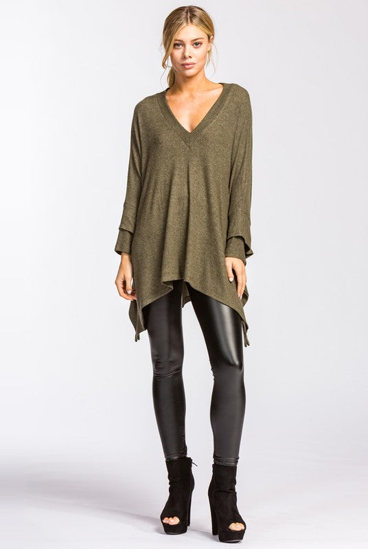 Lizzie Poncho Sweater - Olive - Tucker Brown