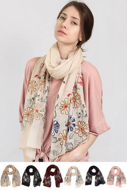 Abbie Embroidered Scarf - Tucker Brown