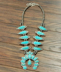 Bambam Squash Blossom Necklace - Turquoise - Tucker Brown