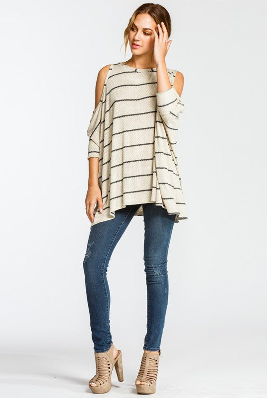 Cara Cold Shoulder Top - Tucker Brown