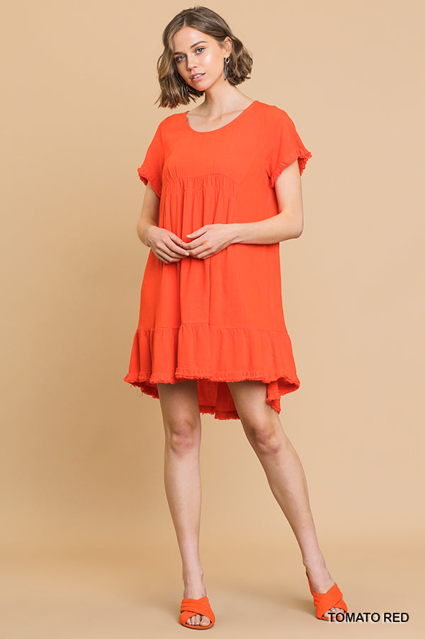Heather Babydoll Dress - Tomato Red - Tucker Brown