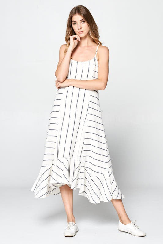 Directions Stripe Dress - White/Navy - Tucker Brown