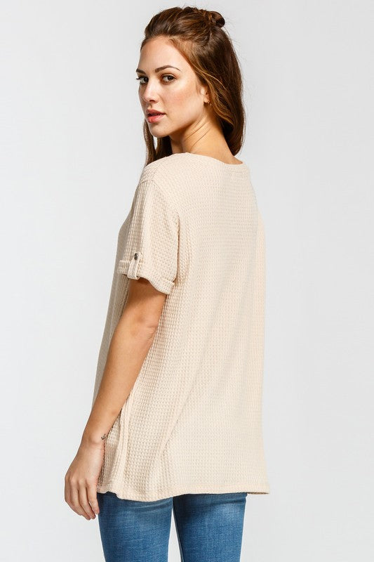 Taryn Button Cuff Top - Taupe - Tucker Brown