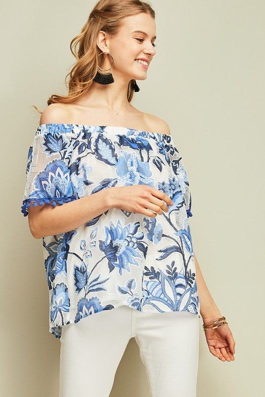 Camille Floral Pom Pom Top - Blue - Tucker Brown