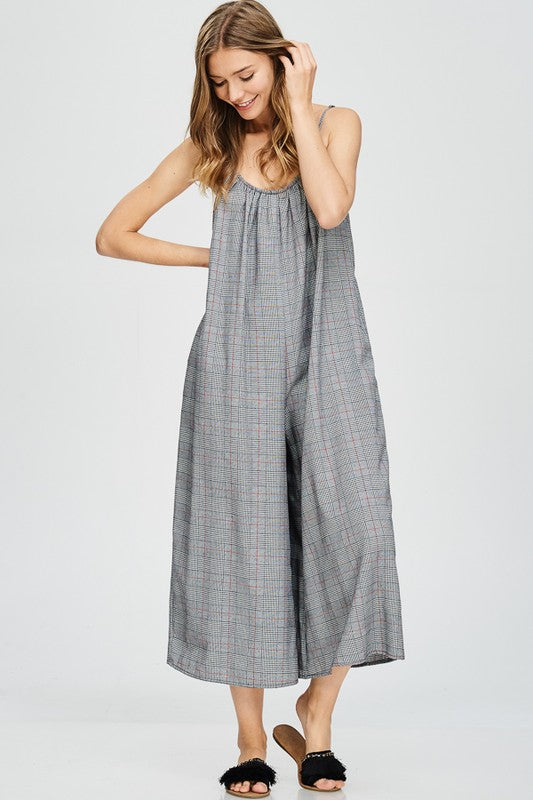 Chelsi Glen Plaid Romper - Black/Ivory - Tucker Brown
