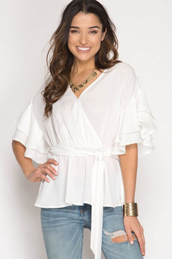 Tied With A Smile Top — White - Tucker Brown